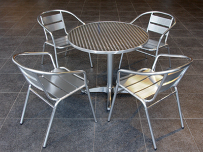 Low Aluminium Table & Two Chairs - SC13
